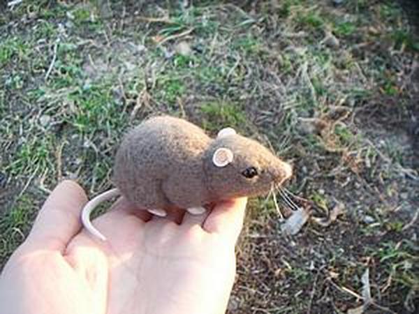 Мастер-класс: мышка в технике сухого валяния   Ярмарка Мастеров - ручная работа, handmade