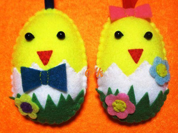 Изготавливаем подвеску из фетра «Цыпленок» | Ярмарка Мастеров - ручная работа, handmade