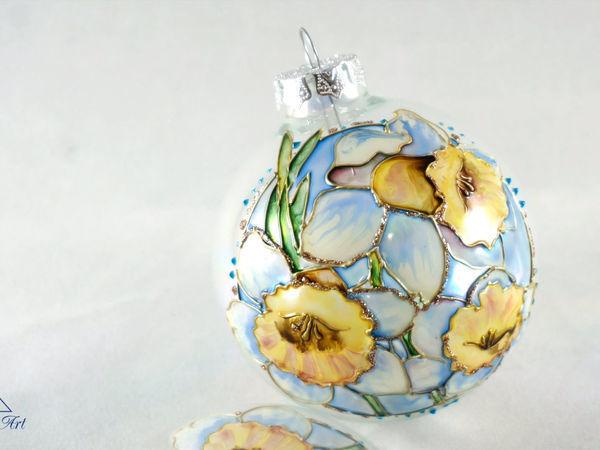 Video Tutorial: Daffodil on Christmas Ball | Livemaster - hecho a mano - handmade