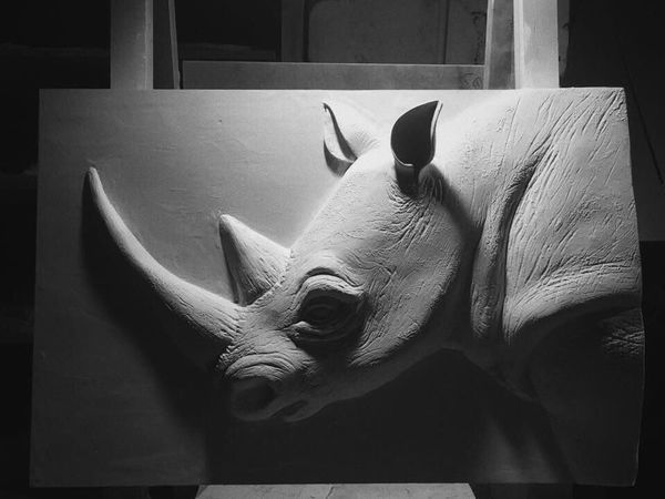МК Гипсовый барельеф «Носорог» | Ярмарка Мастеров - ручная работа, handmade