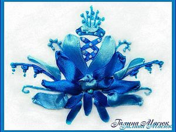 Вышивка лентами. Элемент гжельской росписи - роза | Ярмарка Мастеров - ручная работа, handmade