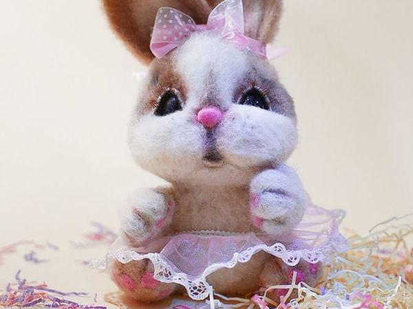 Валяный зайка, розовое настроение | Ярмарка Мастеров - ручная работа, handmade