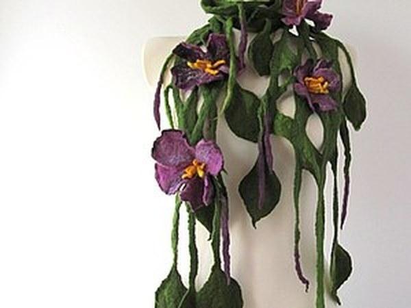 Валяное колье или шарф с цветами | Ярмарка Мастеров - ручная работа, handmade