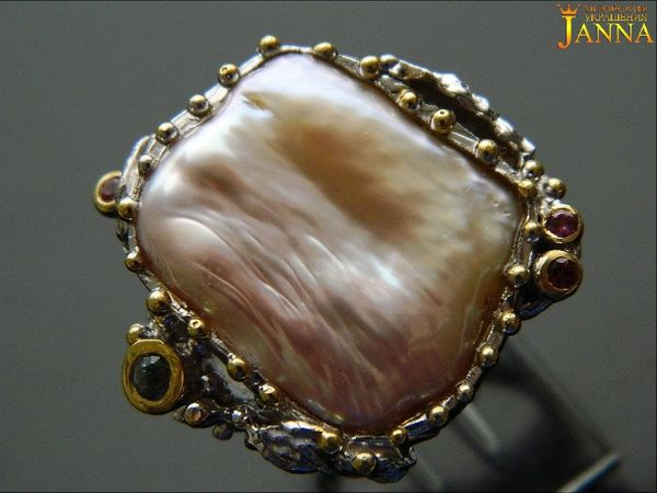 Жемчуг.  «Амелия»  кольцо с крупной жемчужиной 92 карат | Ярмарка Мастеров - ручная работа, handmade
