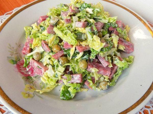Салат из савойской капусты с колбасой салями | Ярмарка Мастеров - ручная работа, handmade