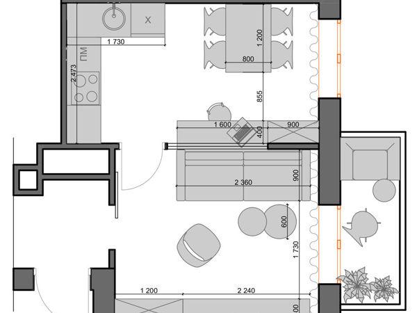 Зонирование кухни и гостиной | Ярмарка Мастеров - ручная работа, handmade