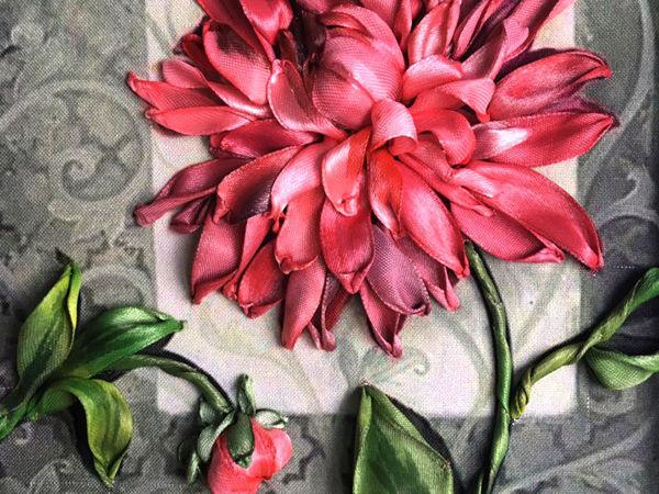 Вышивка лентами «Королевский георгин»: мастер-класс | Ярмарка Мастеров - ручная работа, handmade