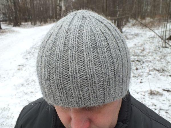 Вяжем мужскую шапку с двойным полотном | Ярмарка Мастеров - ручная работа, handmade