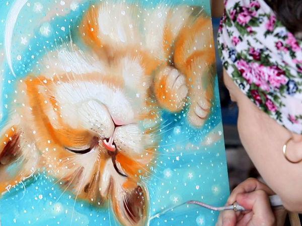 Рисуем котенка. Живопись маслом. Новая картина  «Муррр» | Ярмарка Мастеров - ручная работа, handmade