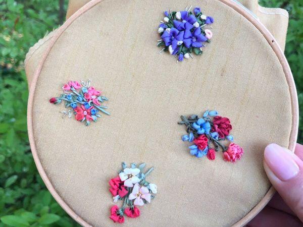 Вышивка лентами: миниатюры | Ярмарка Мастеров - ручная работа, handmade
