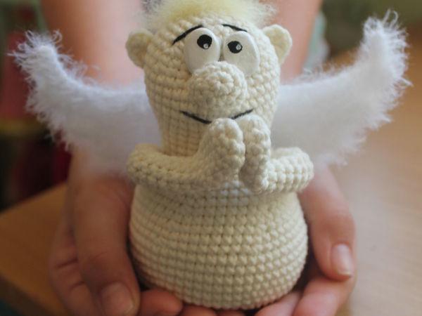 Вяжем крючком обаятельного ангела с мягкими крыльями   Ярмарка Мастеров - ручная работа, handmade