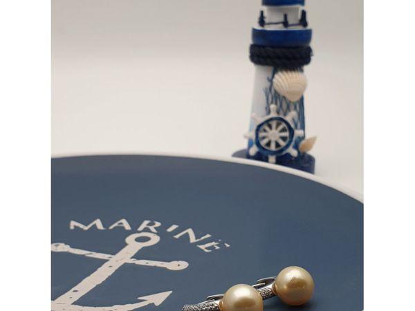Серьги с морским жемчугом «Яхт клуб» серебро 925 | Ярмарка Мастеров - ручная работа, handmade