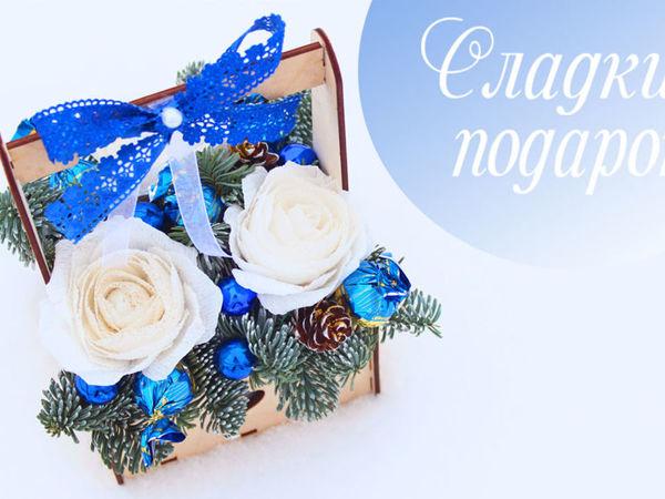 Создаем новогоднюю композицию в деревянной коробке | Ярмарка Мастеров - ручная работа, handmade