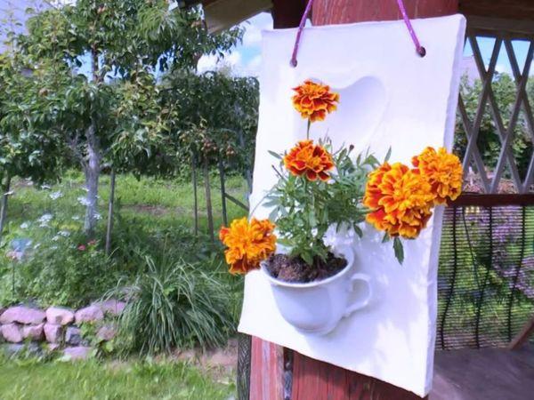 Делаем мини кашпо для цветка из старой чашки и цемента. Видео мастер класс!   Ярмарка Мастеров - ручная работа, handmade