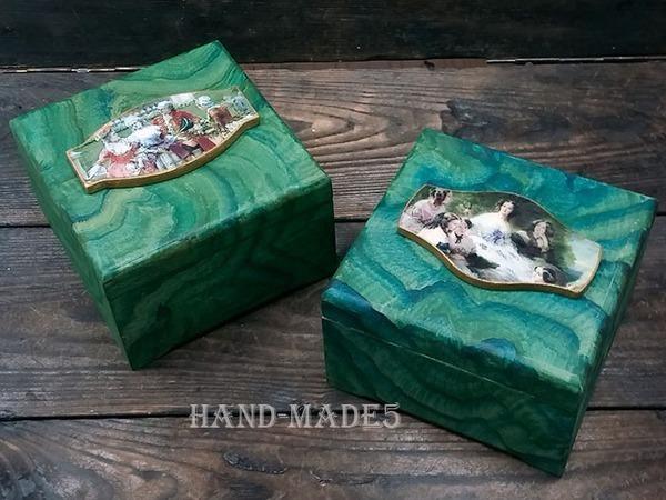 Малахитовая шкатулка - имитация поверхности камня + работа с распечаткой! | Ярмарка Мастеров - ручная работа, handmade