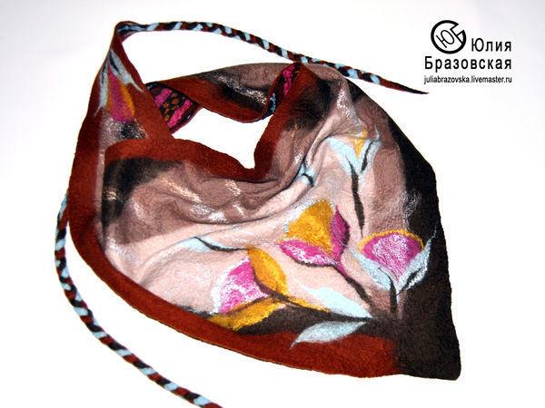 Бактус из шерсти на основе шелкового платка в технике нунофелтинг. Часть 1 | Ярмарка Мастеров - ручная работа, handmade