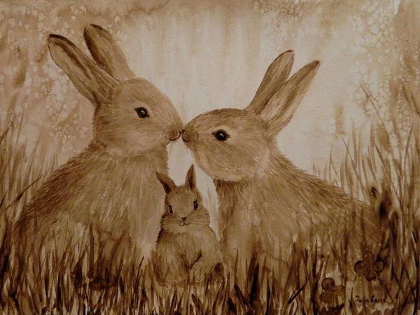 Процесс рисования кофейных зайчиков | Ярмарка Мастеров - ручная работа, handmade