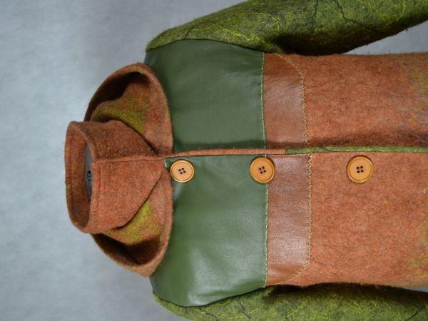Пальто валяное с кожей за 9 тыс руб   Ярмарка Мастеров - ручная работа, handmade