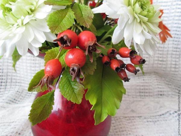 Новинка нашей студии - керамическая флористика (цветы из холодного фарфора) -Ягоды шиповника!   Ярмарка Мастеров - ручная работа, handmade