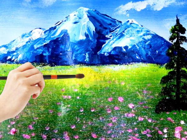 Пейзаж акрилом. Подробный видео мастер-класс   Ярмарка Мастеров - ручная работа, handmade