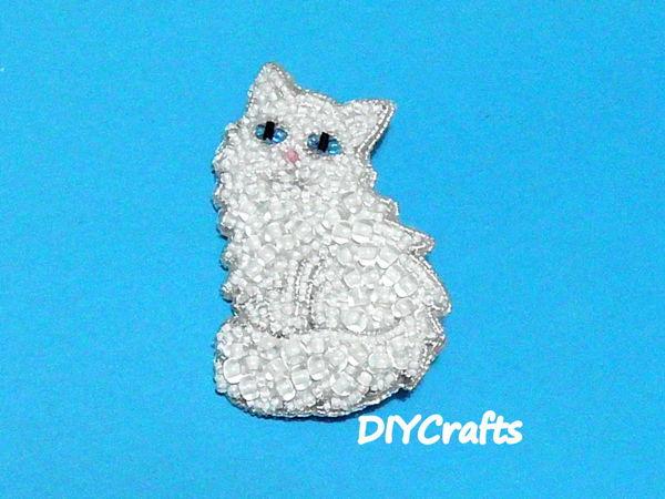 Создаем брошь  «Зимняя кошка»  из бисера | Ярмарка Мастеров - ручная работа, handmade