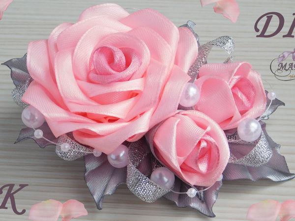 Видео мастер-класс: делаем розы из лент | Ярмарка Мастеров - ручная работа, handmade
