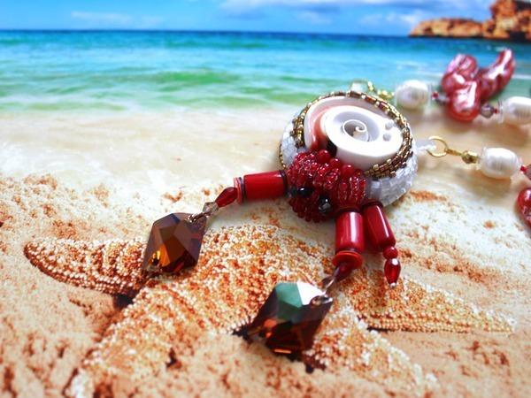 Ожерелье «Гость кораллового рифа» | Ярмарка Мастеров - ручная работа, handmade