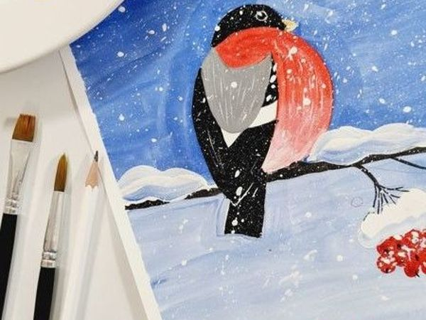 Рисуем с детьми: Снегирь | Ярмарка Мастеров - ручная работа, handmade