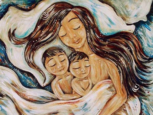 Любящие объятия и теплые моменты материнства в иллюстрациях Katie m. Berggren | Ярмарка Мастеров - ручная работа, handmade