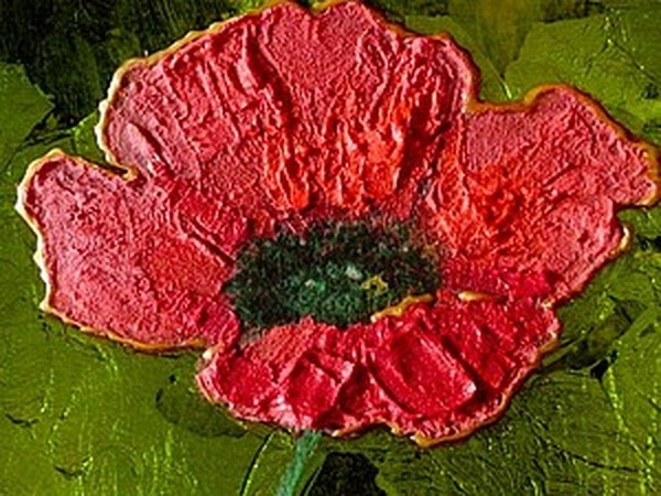 Декор тарелки: рисуем яркий красный мак на зелёном фоне | Ярмарка Мастеров - ручная работа, handmade