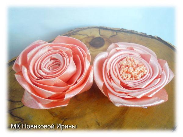 Делаем простые розы из атласной ленты | Ярмарка Мастеров - ручная работа, handmade