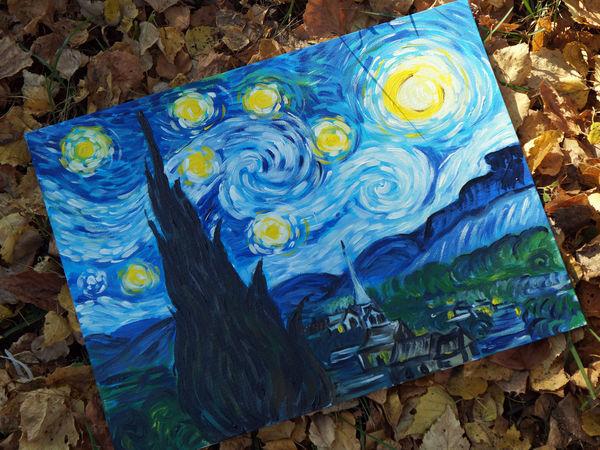 Видео мастер-класс: пишем картину Ван Гога «Звездная ночь» | Ярмарка Мастеров - ручная работа, handmade