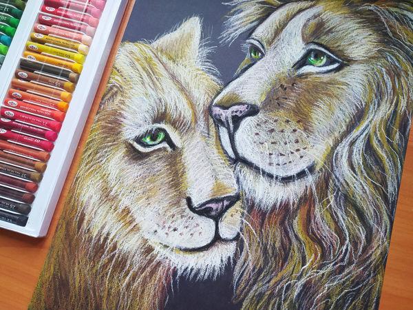 Рисуем львов масляной пастелью! | Ярмарка Мастеров - ручная работа, handmade