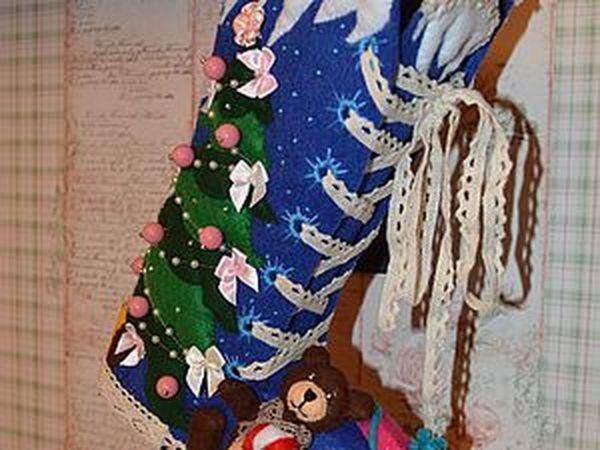 Делаем из фетра рождественский сапог для подарков | Ярмарка Мастеров - ручная работа, handmade
