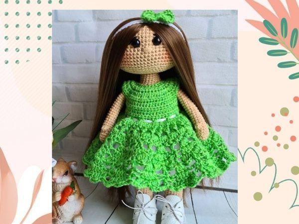 Вяжем платье для куклы крючком   Ярмарка Мастеров - ручная работа, handmade