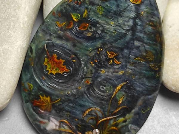 Осенние зеркала – женское украшение на шею – авторская роспись   Ярмарка Мастеров - ручная работа, handmade