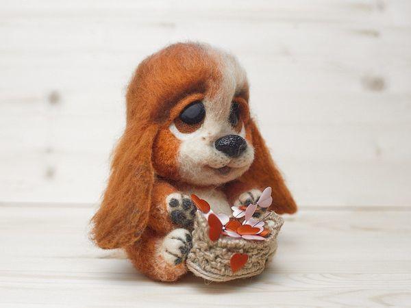 Видео мастер-класс: милый щенок «Барбос» из шерсти с корзинкой | Ярмарка Мастеров - ручная работа, handmade