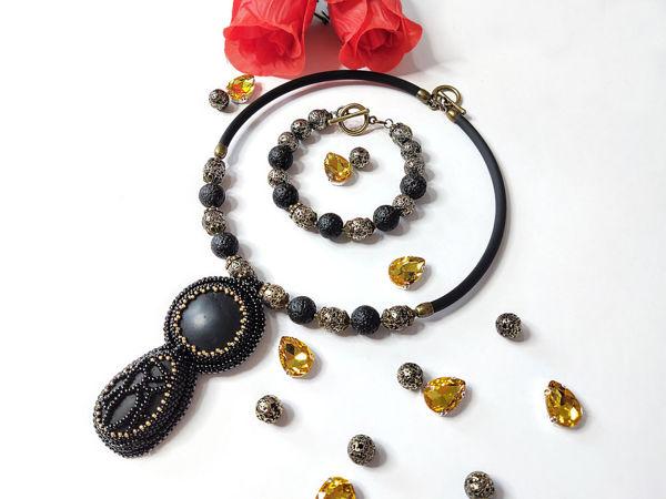 Колье и браслет ручной работы с натуральными камнями   Ярмарка Мастеров - ручная работа, handmade