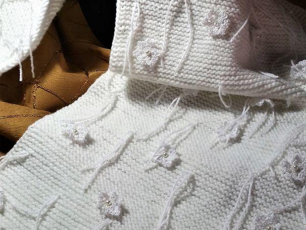 Декорируем шарф-накидку «Вальс снежинок» | Ярмарка Мастеров - ручная работа, handmade
