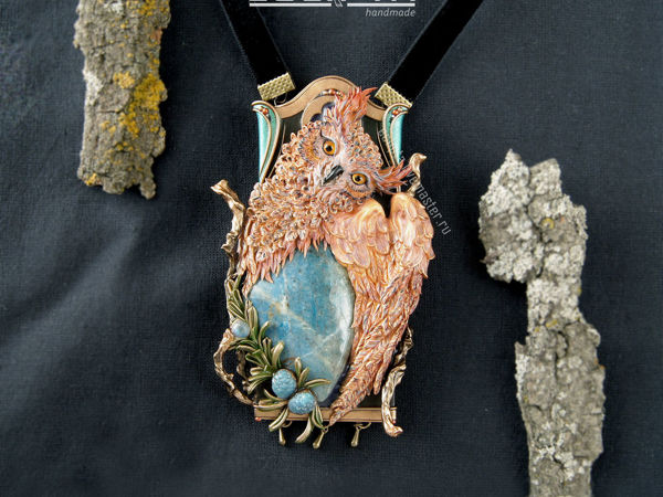 ВИДЕО. Кулон Enigma из полимерной глины в стиле Ар Нуво, сова | Ярмарка Мастеров - ручная работа, handmade