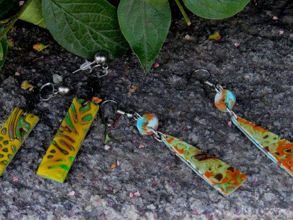 Делаем серьги из полимерной глины с помощью инструментов для скрапбукинга   Ярмарка Мастеров - ручная работа, handmade