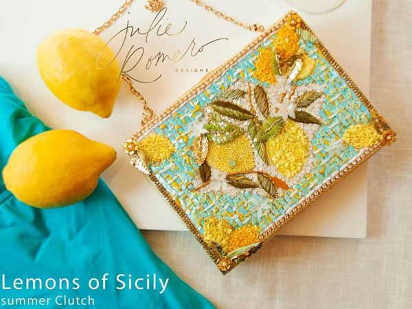 Клатч  «Lemons of Sicily» с вышивкой от Julie Romero и Serena Di Mercione | Ярмарка Мастеров - ручная работа, handmade