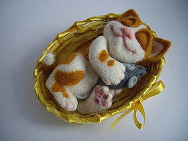 Милый котёнок в корзинке: мастер-класс | Ярмарка Мастеров - ручная работа, handmade