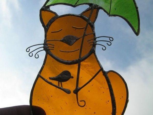 Витраж на окно – «Осенний Кот» | Ярмарка Мастеров - ручная работа, handmade