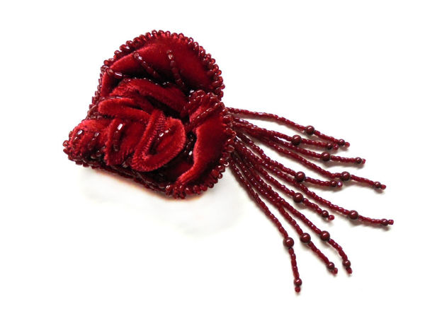 How to Make a Rose of Velvet and Seed Beads | Livemaster - handmade
