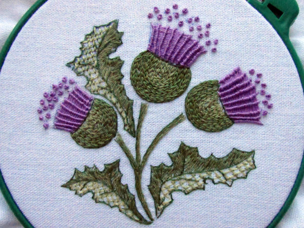 Embroidering Stylized Thistle | Livemaster - handmade