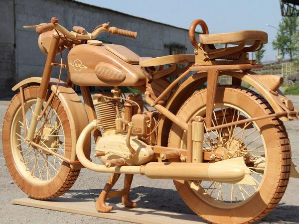 Юрий Хвтисишвили создал точную деревянную копию легендарного советского мотоцикла ИЖ-49   Ярмарка Мастеров - ручная работа, handmade