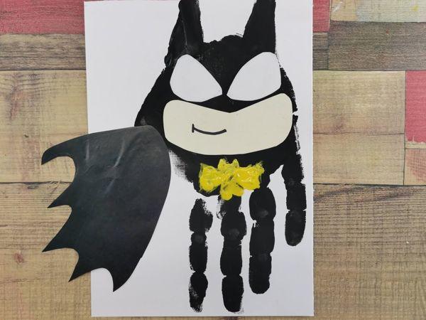 Как нарисовать ладошками бэтмена? Пальчиковый метод | Ярмарка Мастеров - ручная работа, handmade