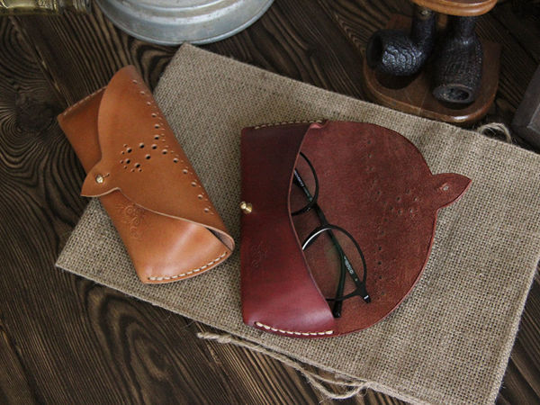 Делаем очечник (футляр для очков) из кожи своими руками   Ярмарка Мастеров - ручная работа, handmade