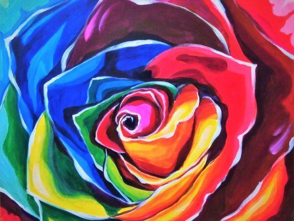 Рисуем яркую интерьерную картину акрилом из трех цветов | Ярмарка Мастеров - ручная работа, handmade